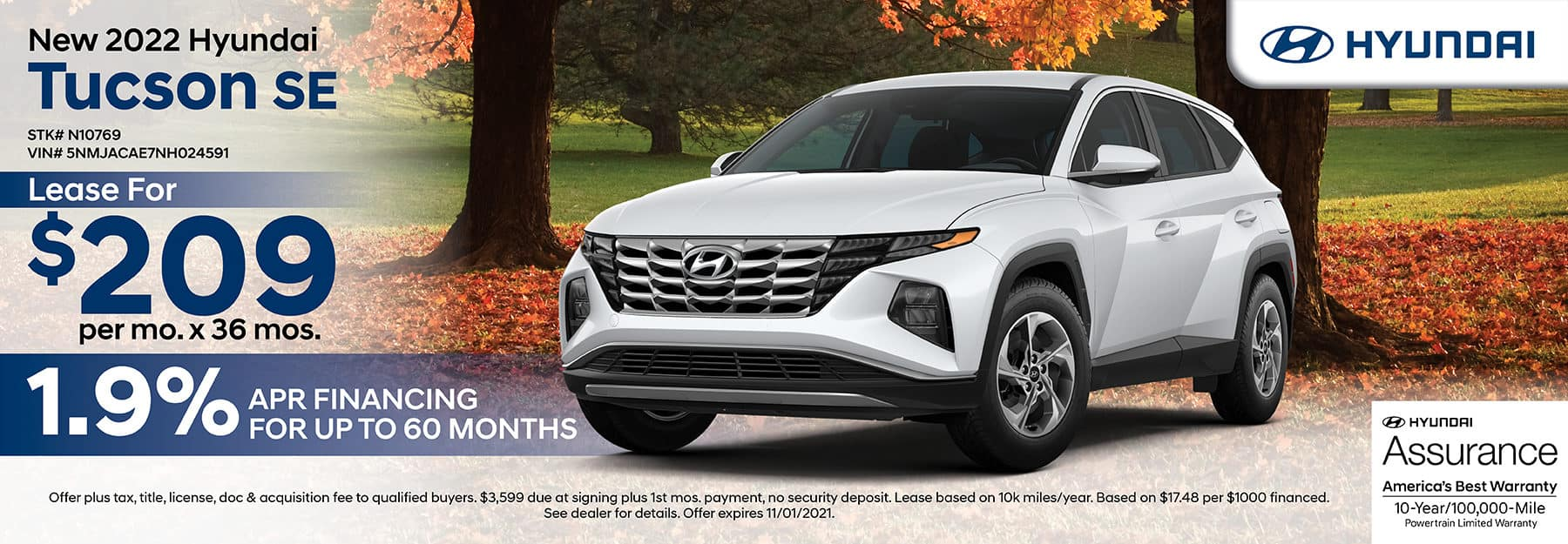 2022 Hyundai Tucson SE lease for $209 per month for 36 months with 1.9% APR financing for up to 60 months.