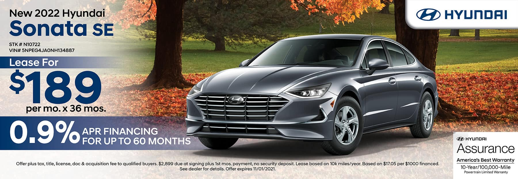 2022 Hyundai Sonata SE lease for $189 per month for 36 months with 0.9% APR financing for up to 60 months