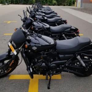 angle shot row of bikes