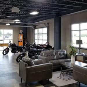 lobby and motorcycles