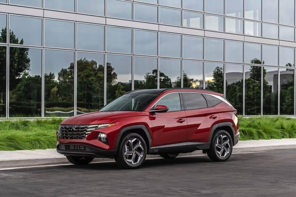 2022 Red Tucson side view