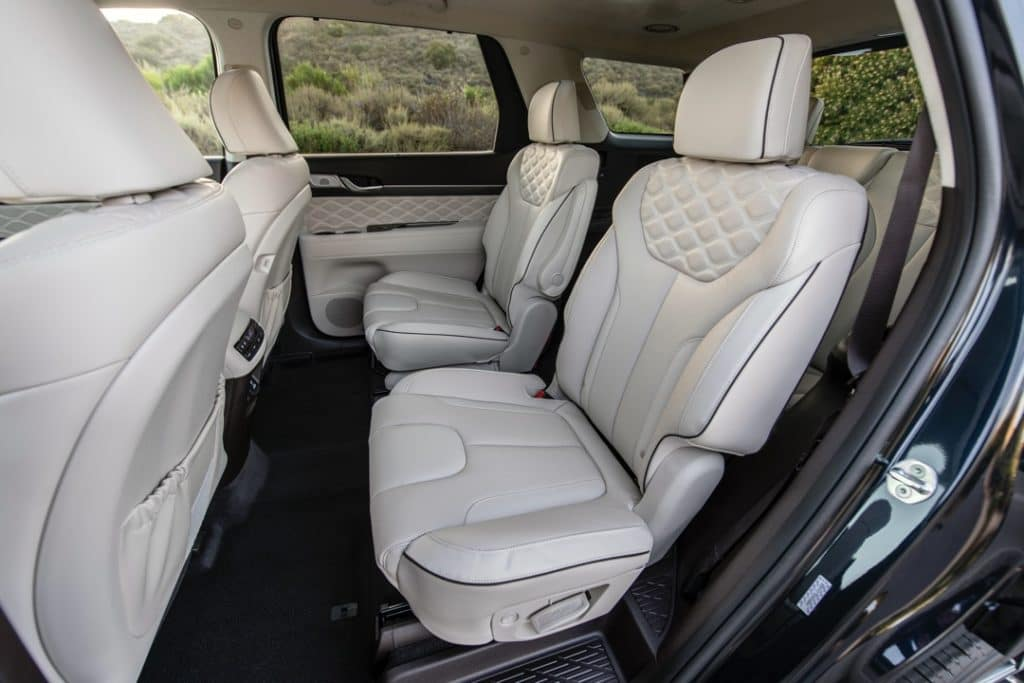 2021 Hyundai Palisade second row seats white leather