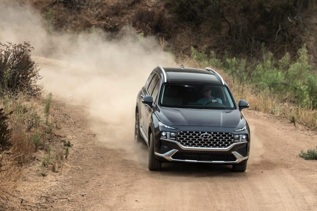 2021 Hyundai Santa Fe gray gravel road mountain