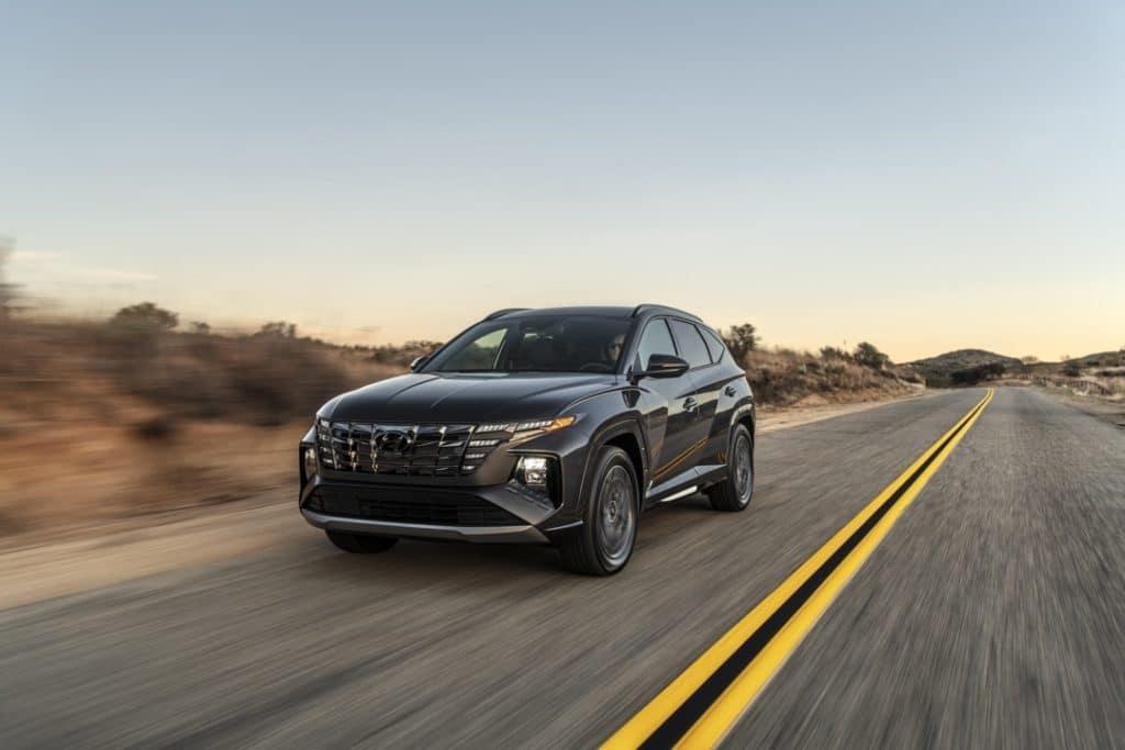 2022 Hyundai Tucson N Line gray desert road
