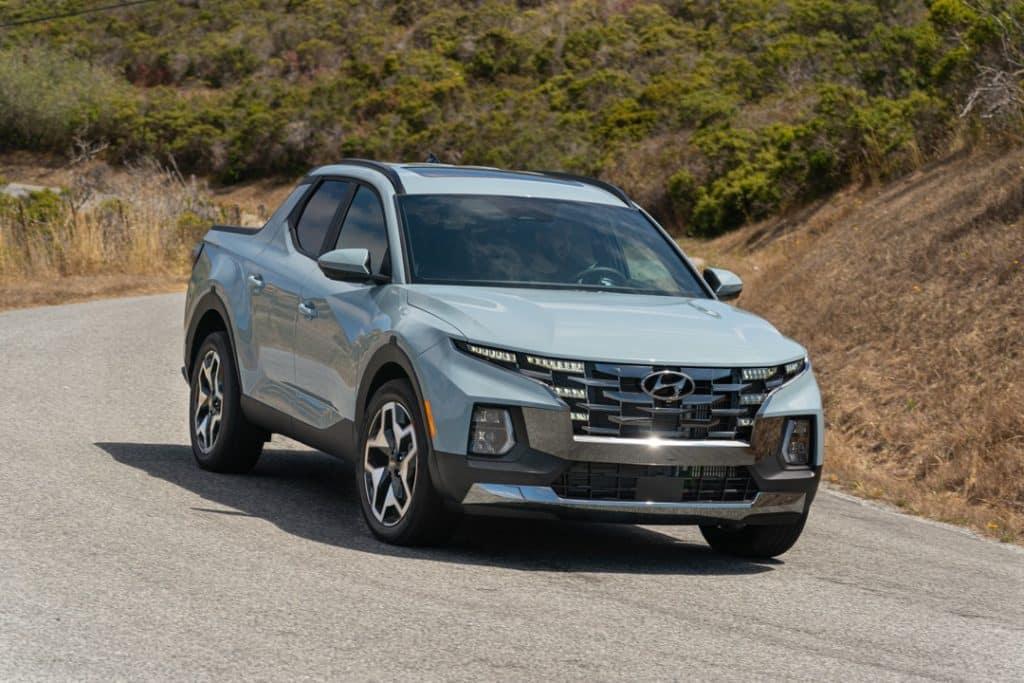 2022 Hyundai Santa Cruz blue mountain road