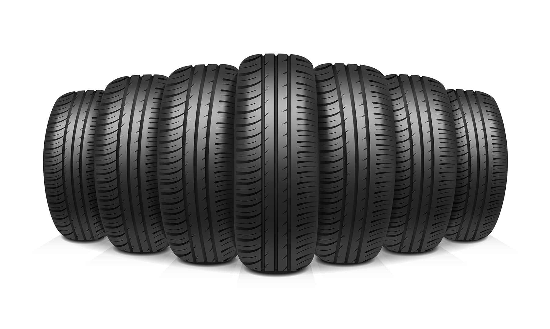 How to check your tires' health at Jack Giambolvo Buick-GMC of York | 7 brand new tires lined up in a row