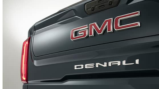 Performance features of the 2021 Sierra at Jack Giambalvo Buick-GMC of York | Close up Beauty shot of the tailgate of the 2021 GMC Sierra Denali