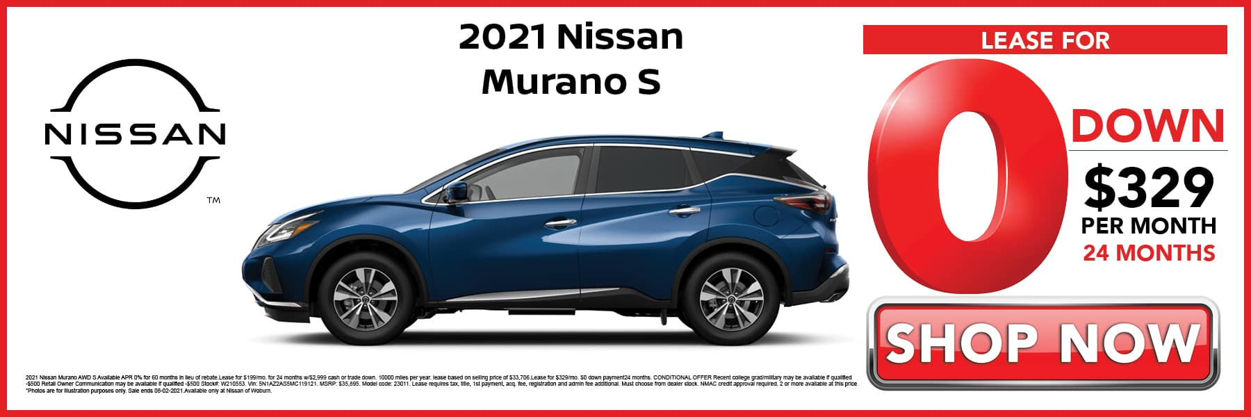 2021 Nissan Murano S Lease for 0 Down then $329 per Month for 24 Months