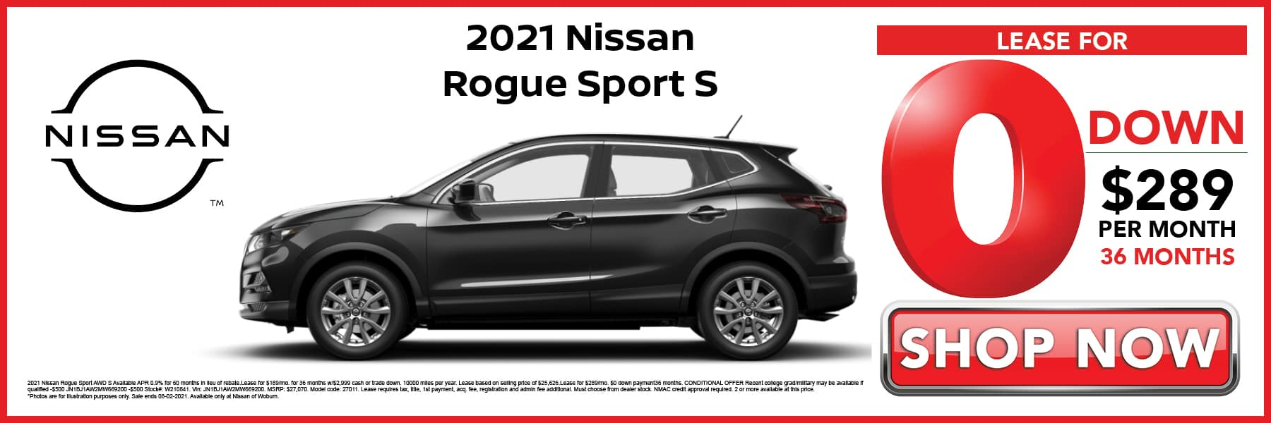 2021 Nissan Rogue Sport S Lease for 0 Down then $289 per Month for 36 Months