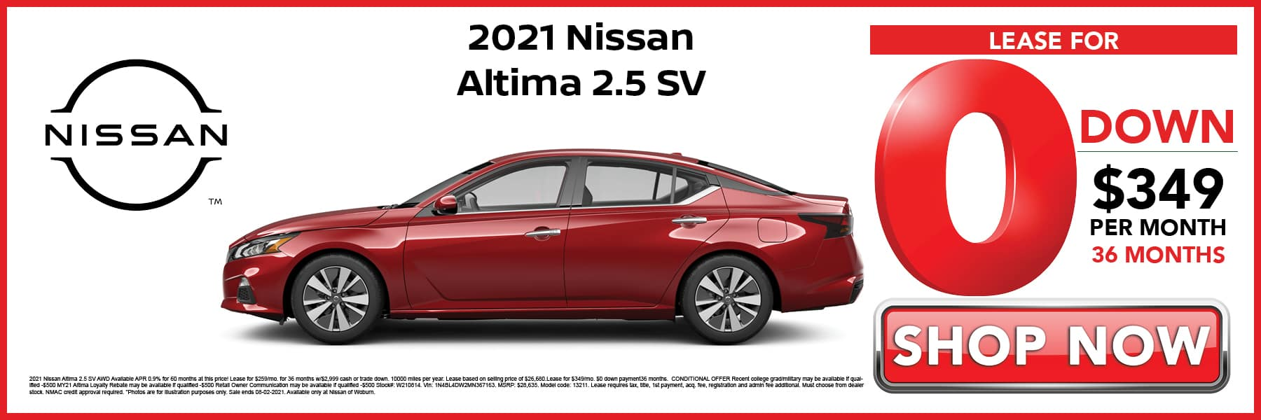 2021 Nissan Altima SV Lease for 0 Down then $349 per Month for 36 Months