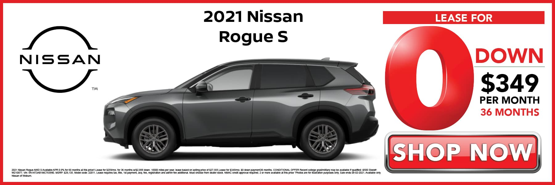 2021 Nissan Rogue S Lease for 0 Down then $349 per Month for 26 Months