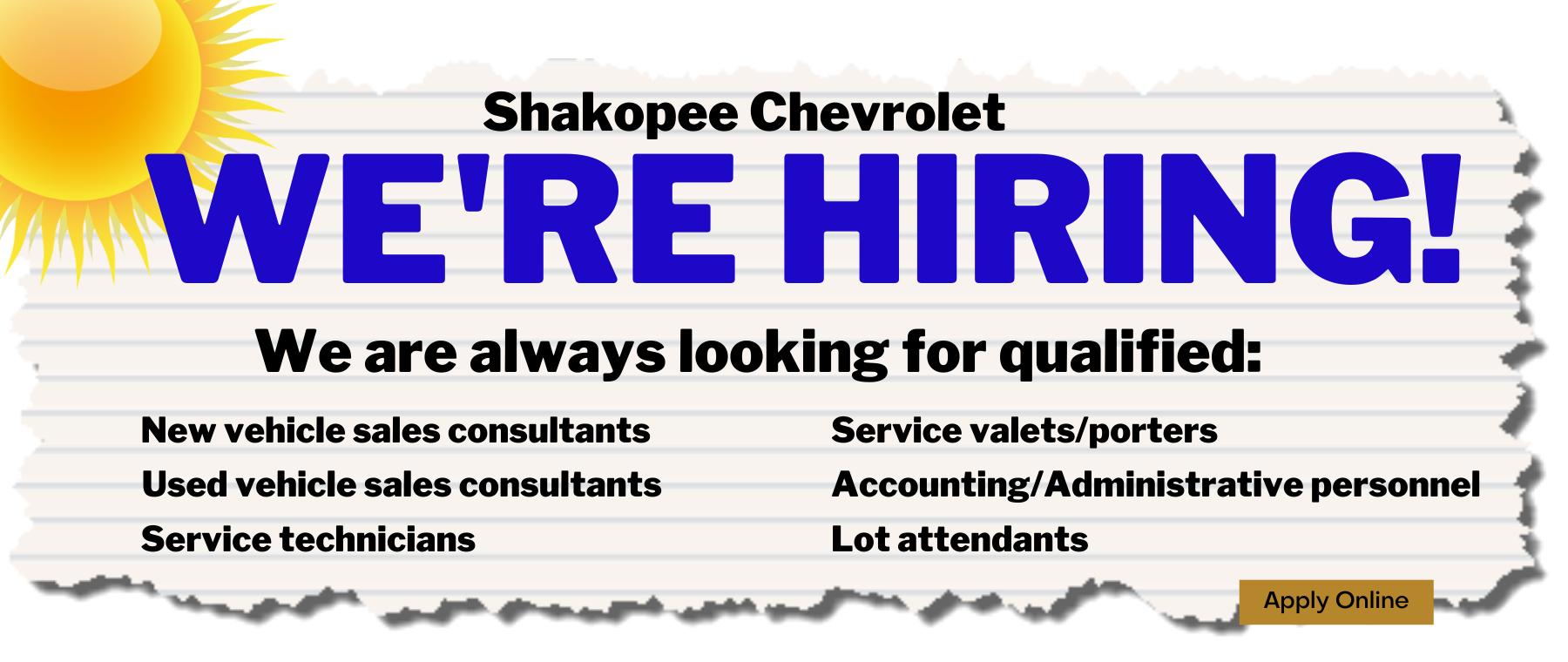We're Hiring at Shakopee Chevrolet